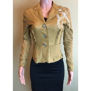 GALLIANO Embroidered Lace Trim Leather Jacket